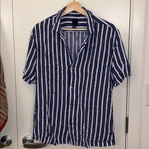 Men's Large Short Sleeve Striped Button Up